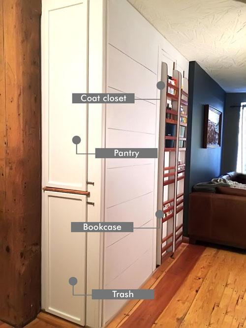 Homemade Custom Pantry, Trash, Coat Closet & Bookcase