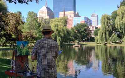 Painting on Boston Common Public Gardens